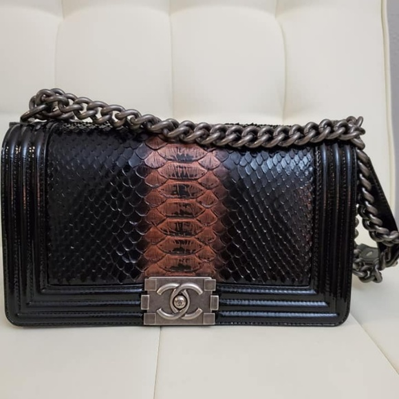 CHANEL Handbags - Authentic Chanel Python Medium Boy bag